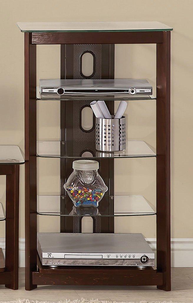 Modern Media Tower W Tempered Glass Shelves Coaster