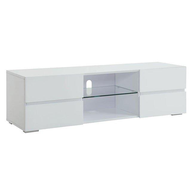 High Gloss White Tv Stand W Storage Drawers Coaster Furniture