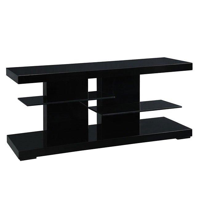 High Gloss Black Tv Stand W Glass Shelves Coaster Furniture