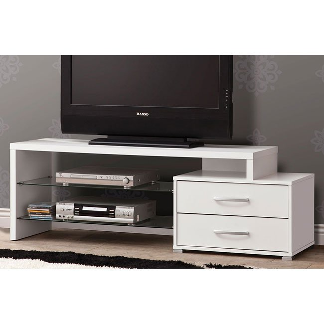 Contemporary White Medium TV Console