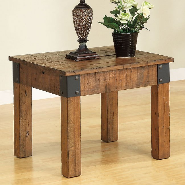 Distressed Country End Table