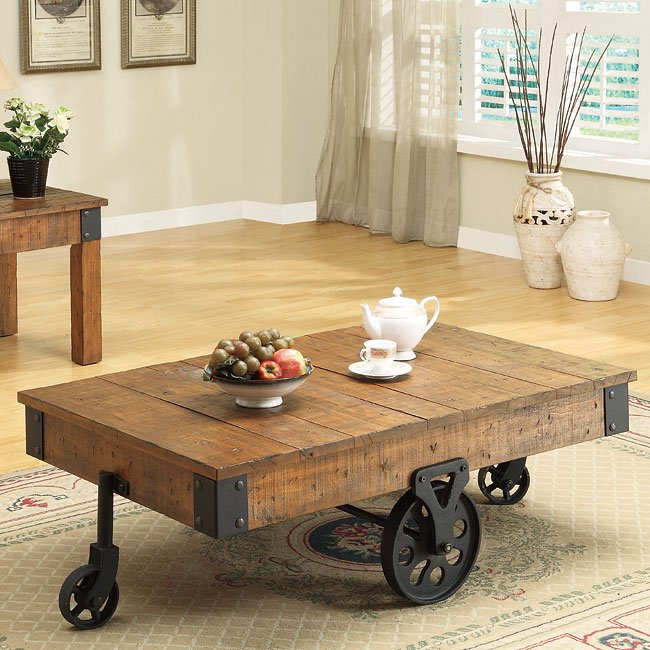 Ashley Furniture Distressed Coffee Table: Distressed Country Coffee Table Coaster Furniture, 1