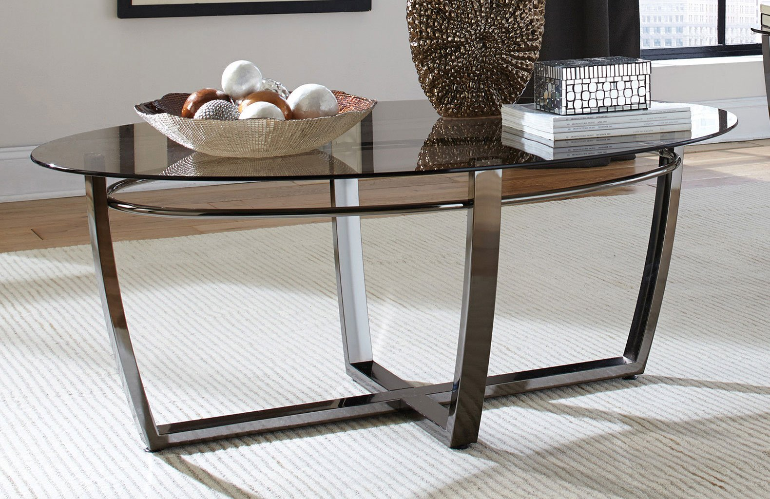 Smoked Glass Top Coffee Table Coaster Furniture Furniture Cart