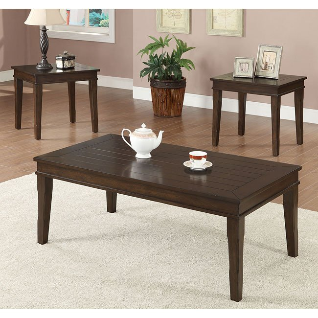 Planked Wood 3-Piece Occasional Set