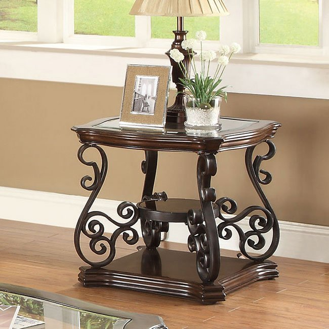 Ornate Metal Scrollwork End Table