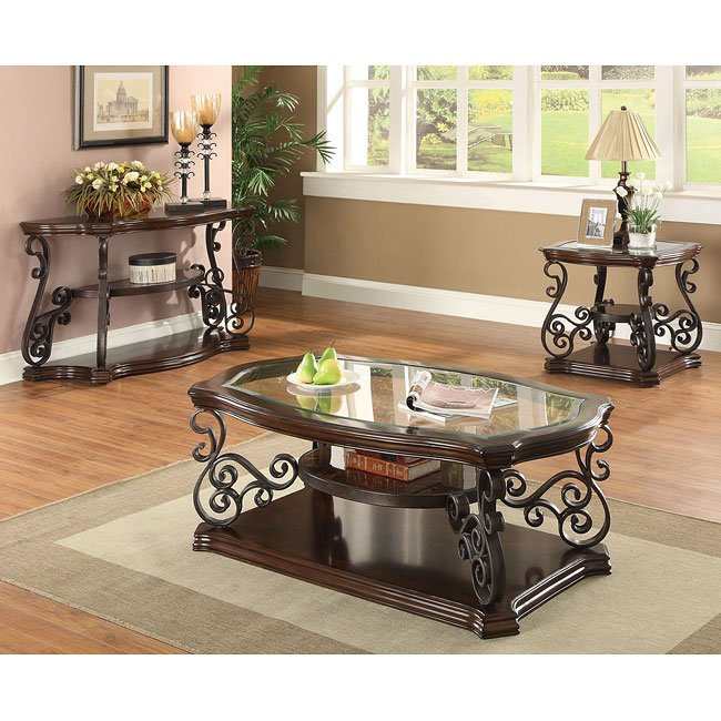 Ornate Metal Scrollwork Occasional Table Set