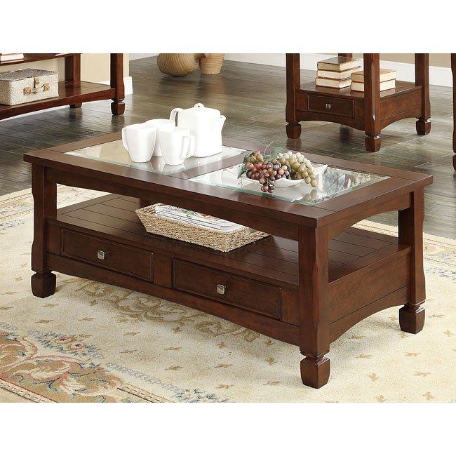 Walnut Finish Coffee Table w/ Storage