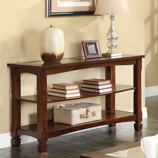 Walnut Finish Sofa Table w/ Storage