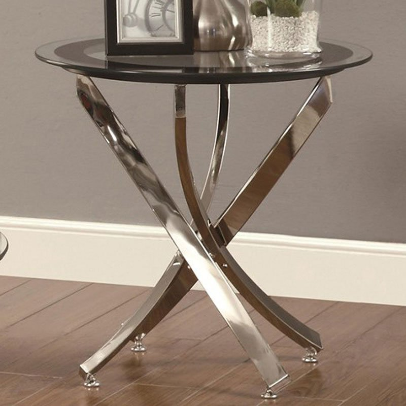 Kings Brand Coylin Chrome Glass Cocktail Coffee Table: Curvaceous Base Occasional Table Set Coaster Furniture