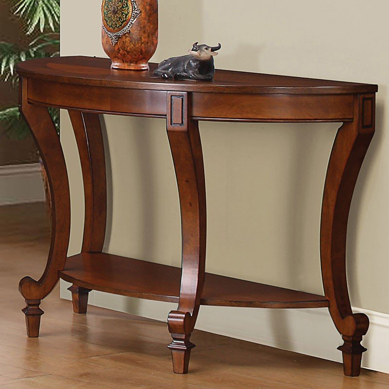 Warm Brown Sofa Table W Curved Legs