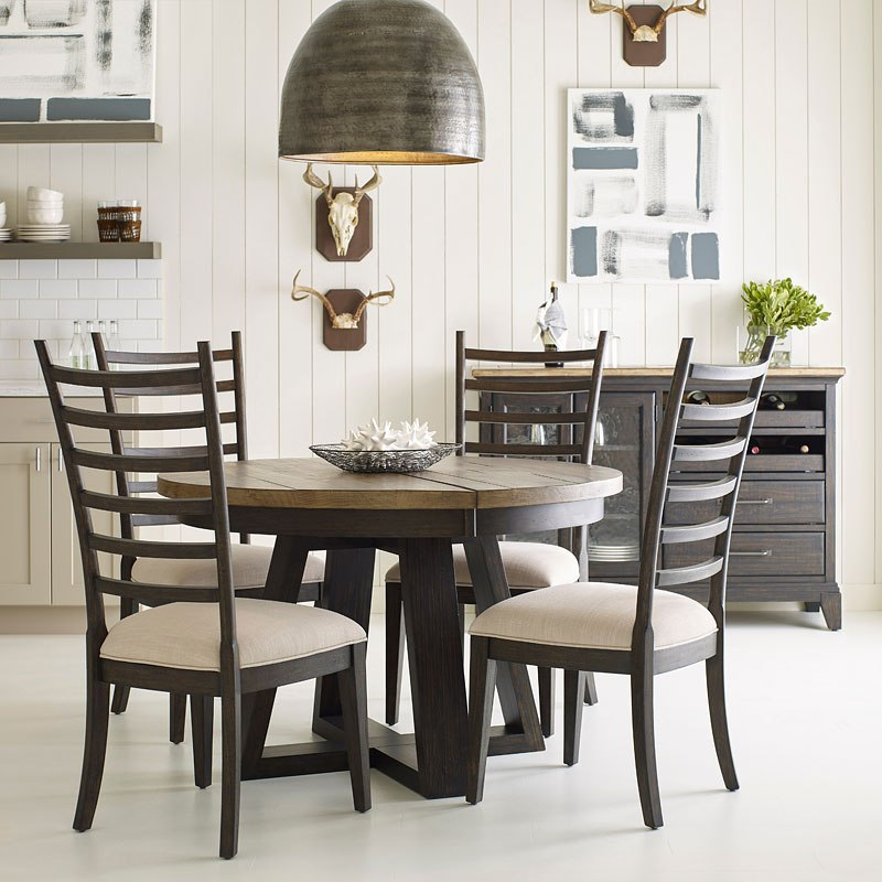 Plank Road Button Dining Room Set W/ Oakley Chairs (Charcoal)