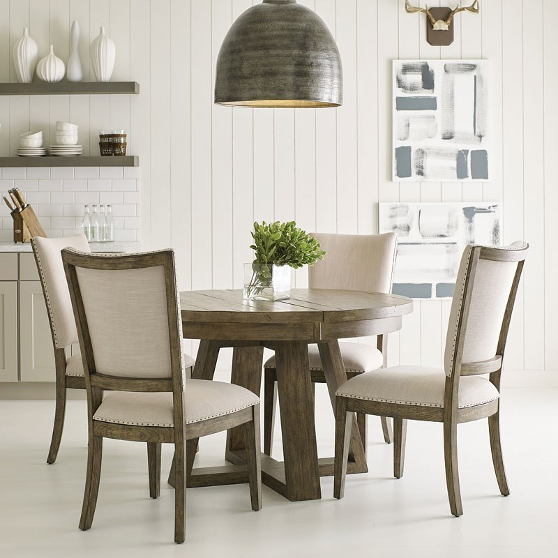 Plank Road Button Dining Room Set (Stone)