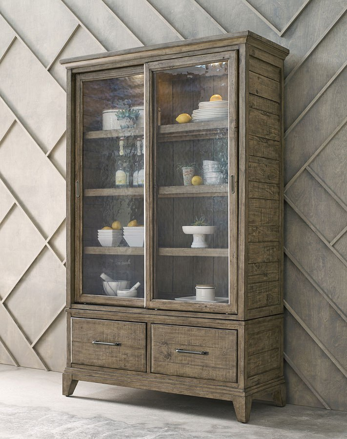 Plank Road Darby Display Cabinet (Stone)