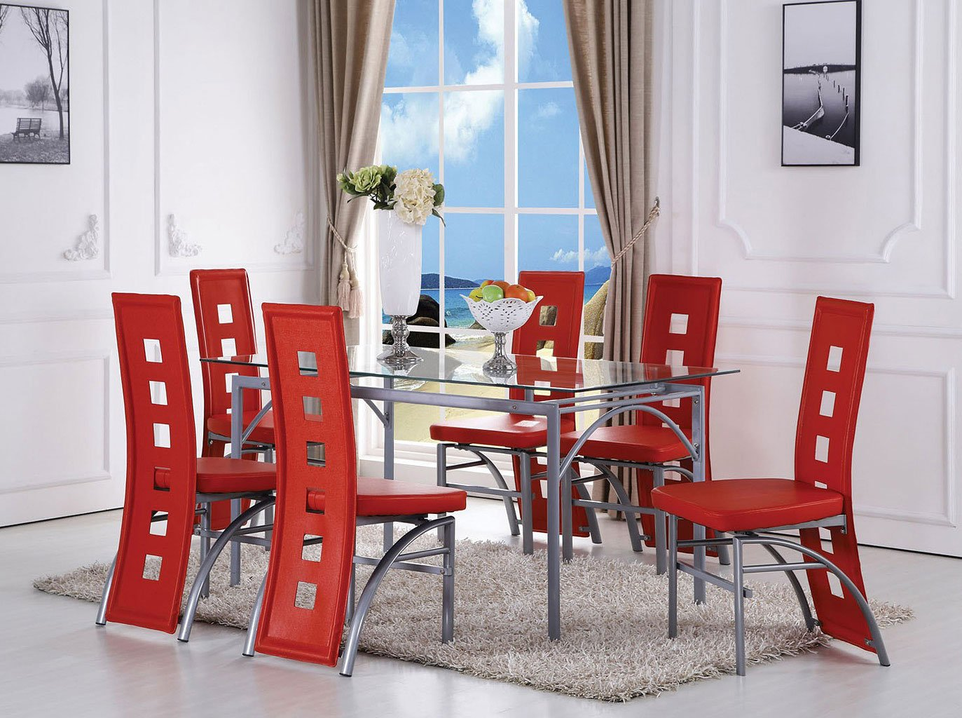 Kathie Dining Room Set W/ Red Chairs Acme Furniture | Furniture Cart