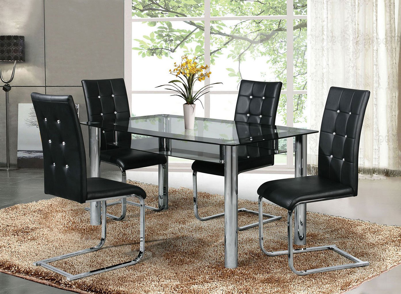 Deion Dining Room Set W Button Tufted Chairs