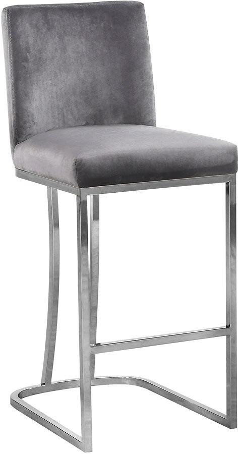 Heidi Velvet Counter Height Stool Grey Chrome Meridian Furniture Furniture Cart
