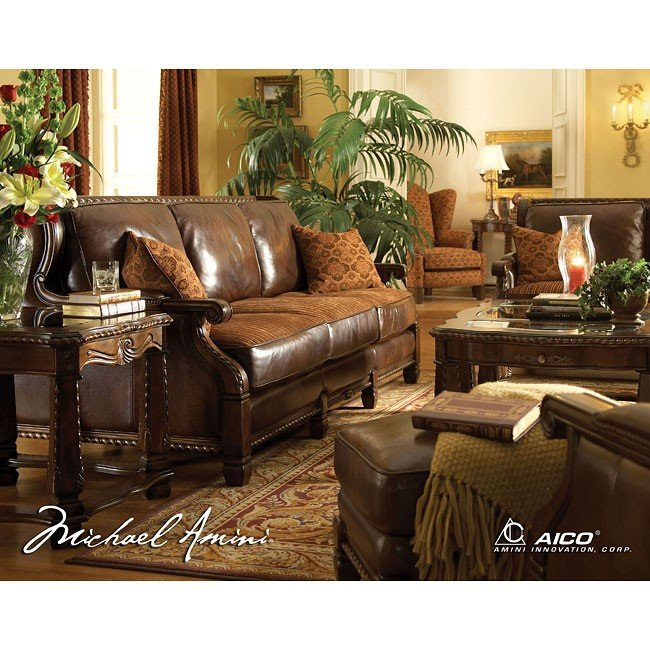 Windsor court leather fabric living room set aico - Aico living room furniture collection ...