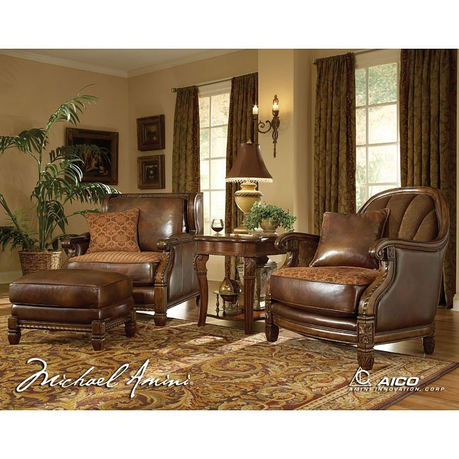 Windsor Court Leather/ Fabric Living Room Set