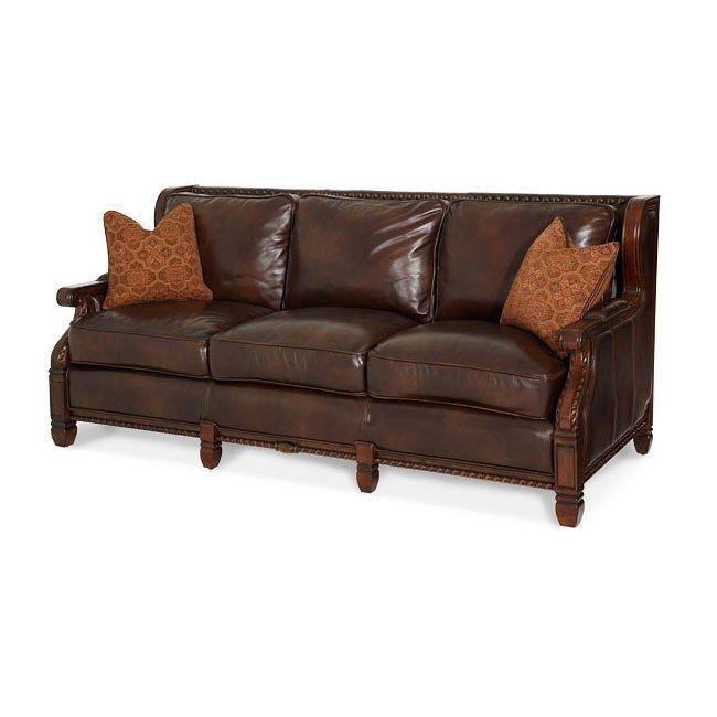 Windsor Court Wood Trim Leather Fabric Sofa