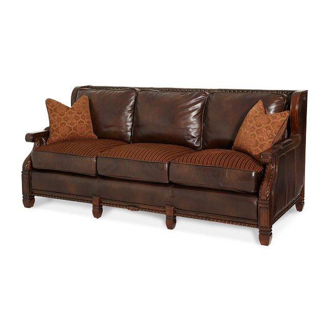 Windsor Court Wood Trim Leather/ Fabric Sofa