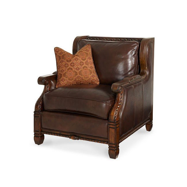 windsor court wood trim leather fabric club chair aico furniture