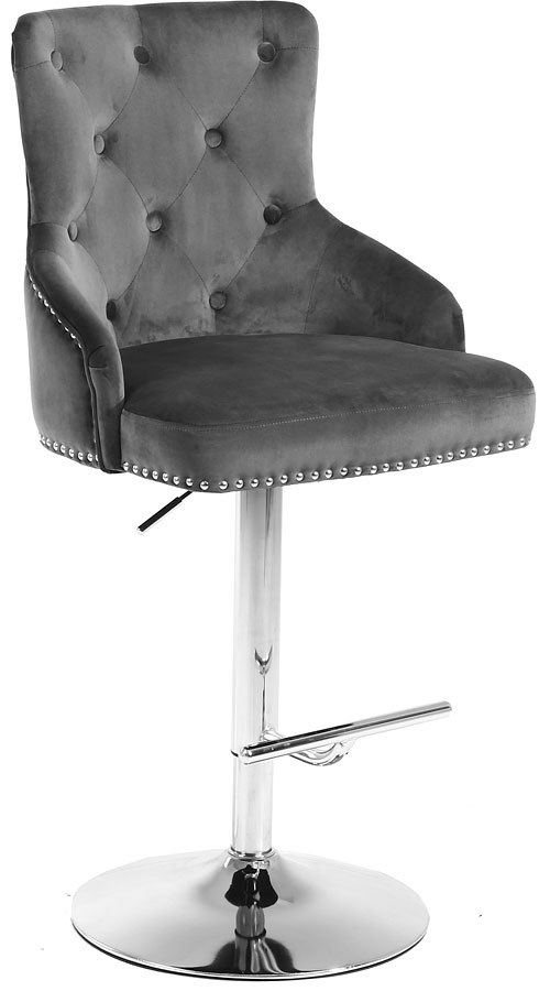 Claude Velvet Adjustable Height Stool Grey Chrome