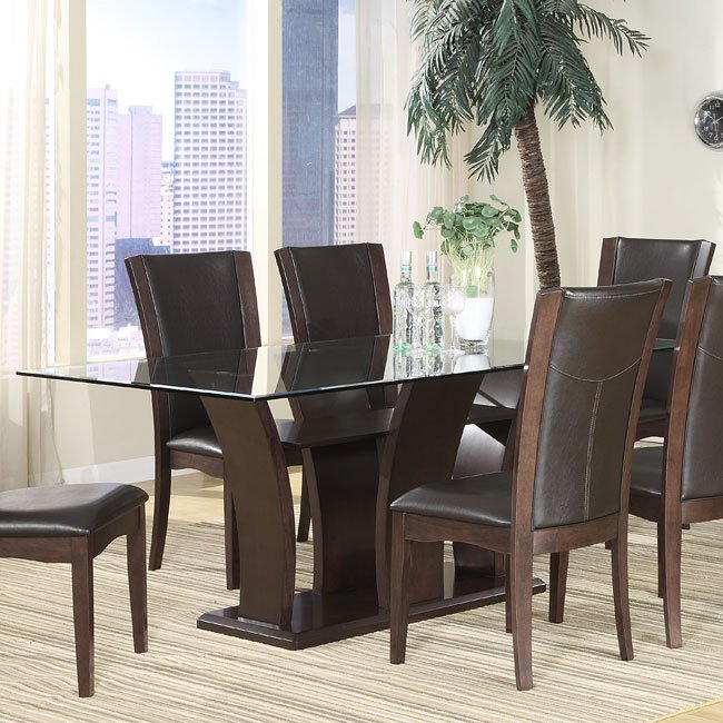Glass Dining Room: Daisy Glass Top Dining Room Set With White Chairs