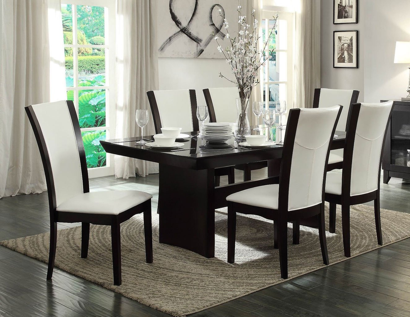 Daisy Glass Insert Dining Room Set w/ White Chairs