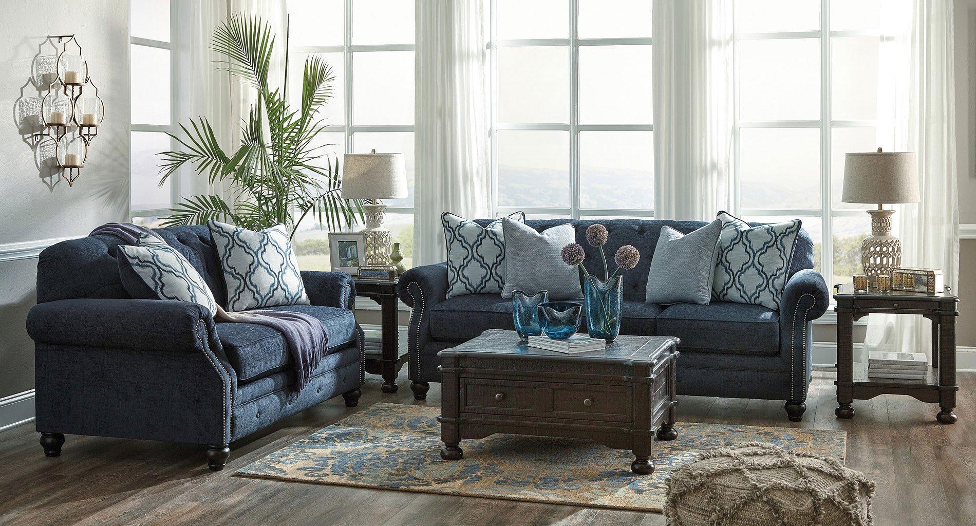 LaVernia Navy Living Room Set BenchCraft | Furniture Cart