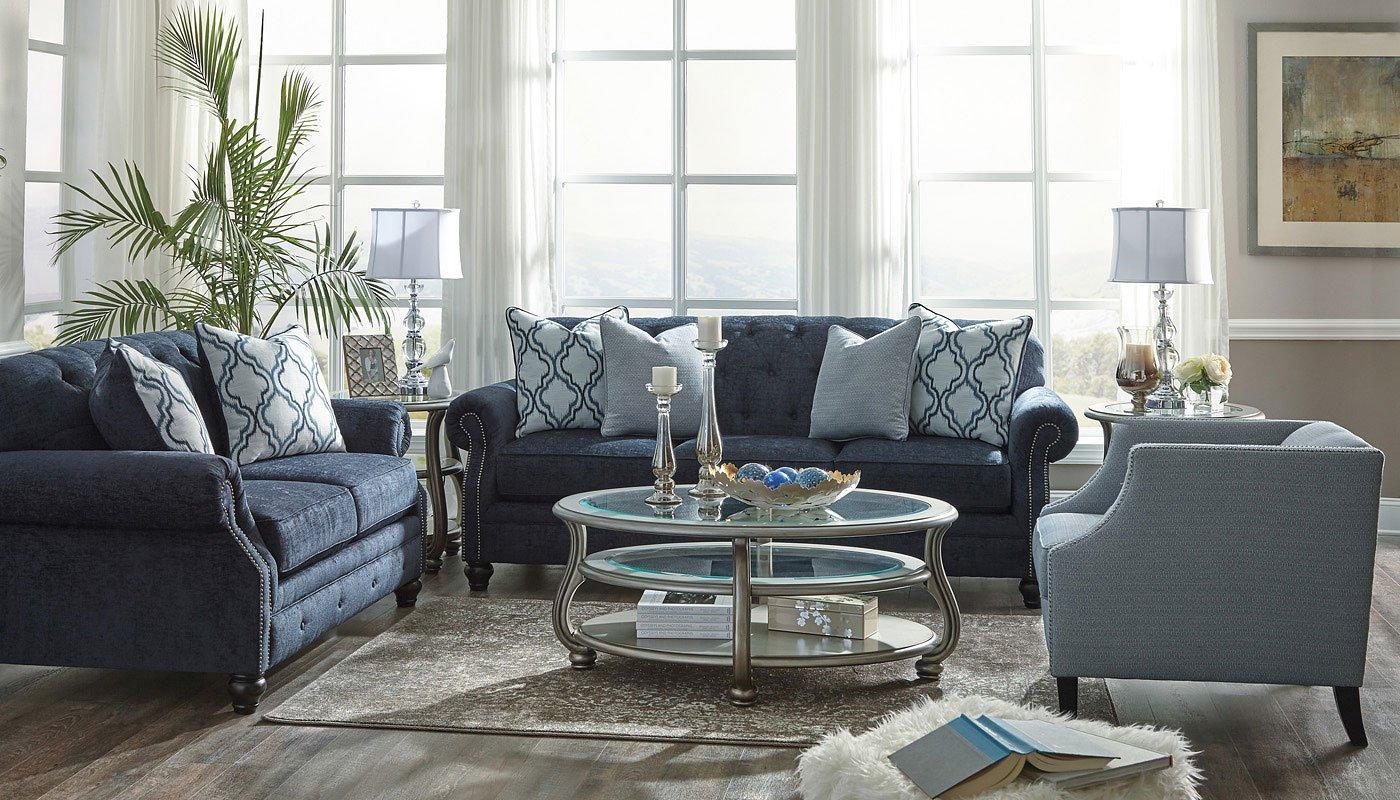 LaVernia Navy Living Room Set