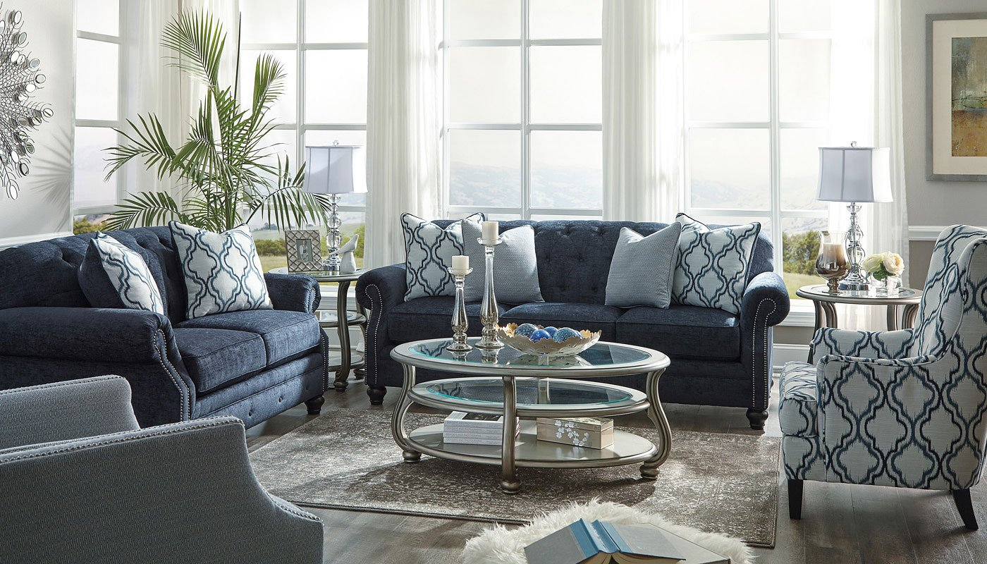 Lavernia Navy Living Room Set Signature Design By Ashley