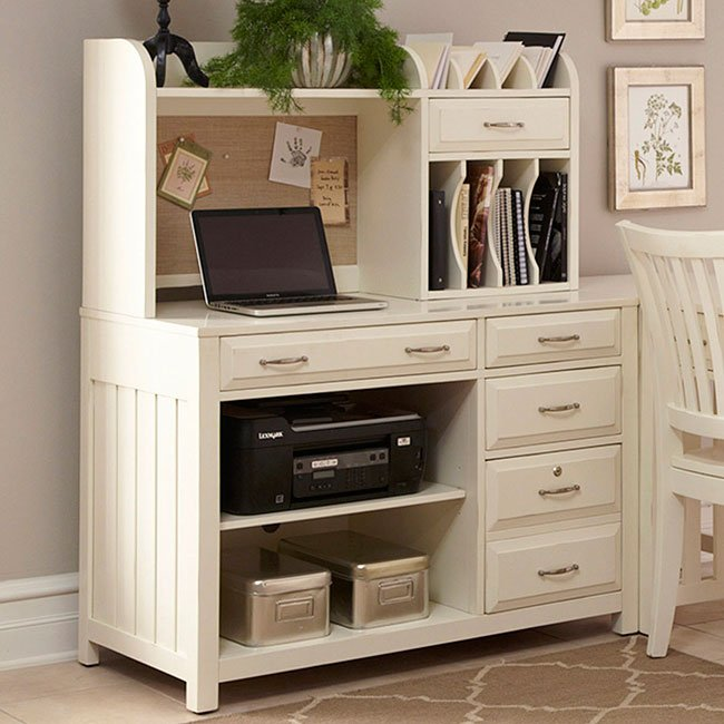 Hampton Bay Computer Credenza w/ Hutch (White)