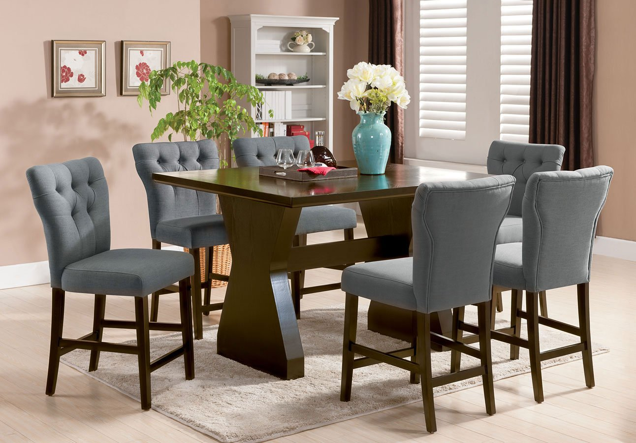 dining room counter height tables | Effie Counter Height Dining Room Set W/ Gray Chairs Acme ...