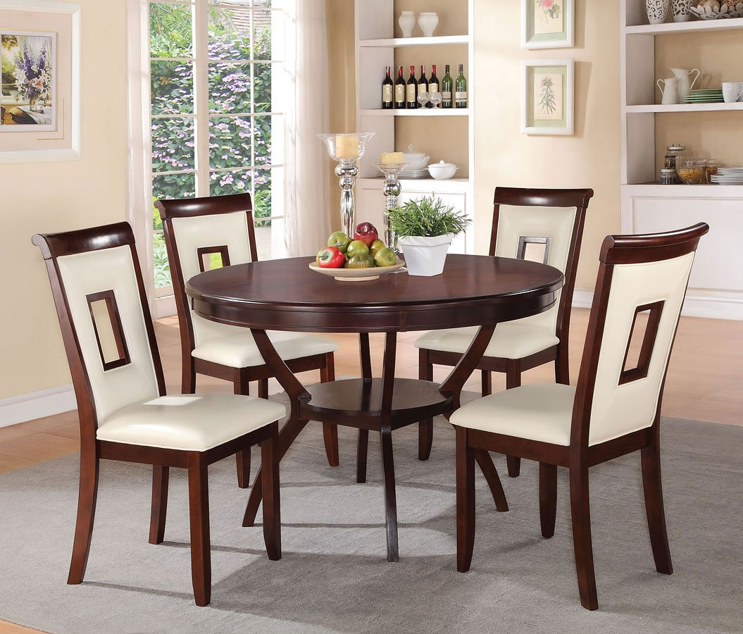 Oswell 5-Piece Dining Room Set W/ Cream Chairs Acme