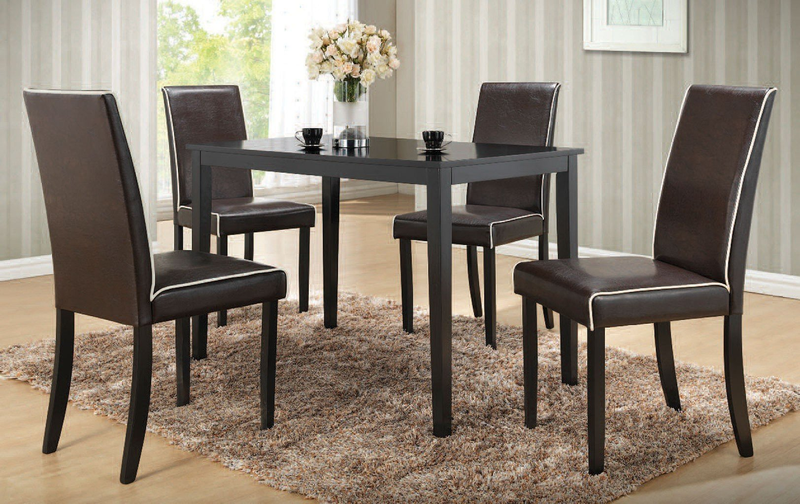 Houston Dining Room Set W/ Black Chairs