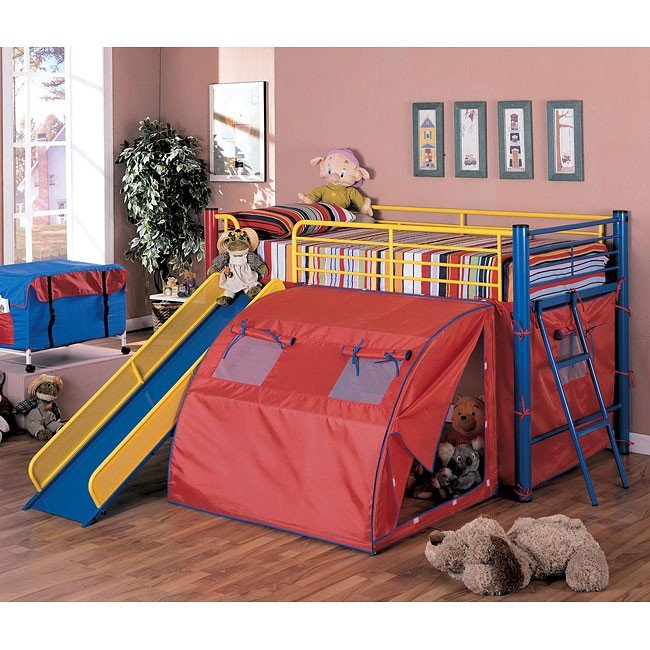 Multicolor Twin Bunk Bed w/ Slide and Tent