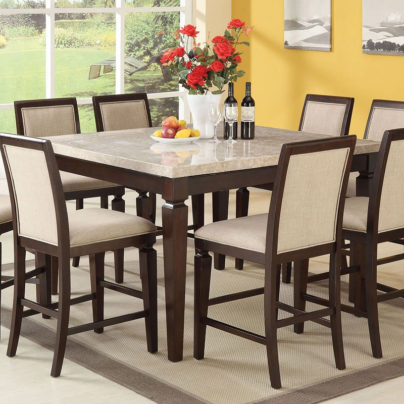 Agatha White Marble Top Counter Dining Table Acme ...