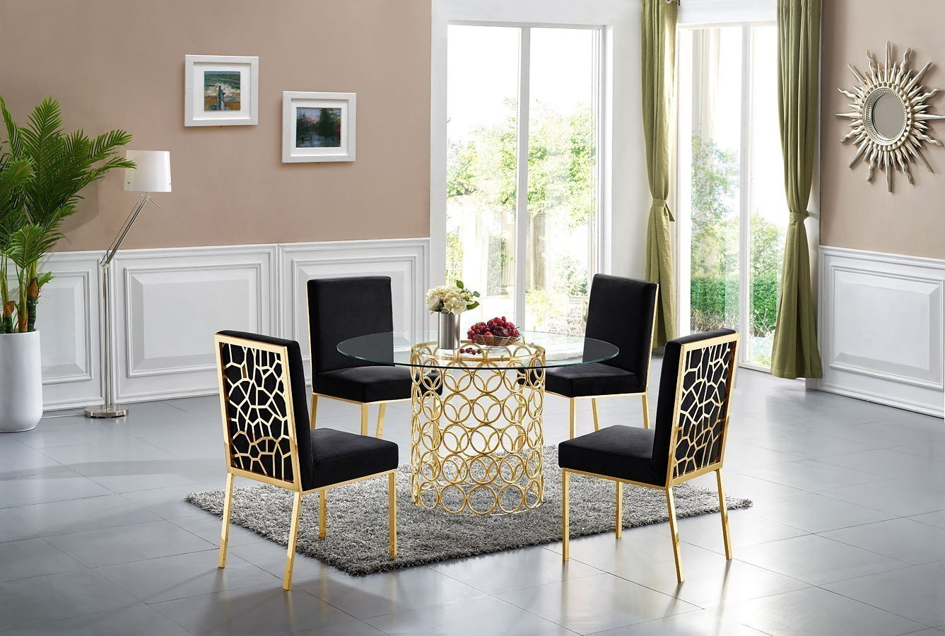 Opal Dining Room Set Black Gold