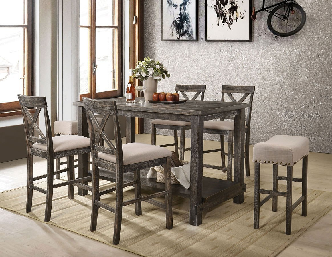 Martha Ii Counter Height Dining Room Set Weathered Gray Acme Furniture Cart