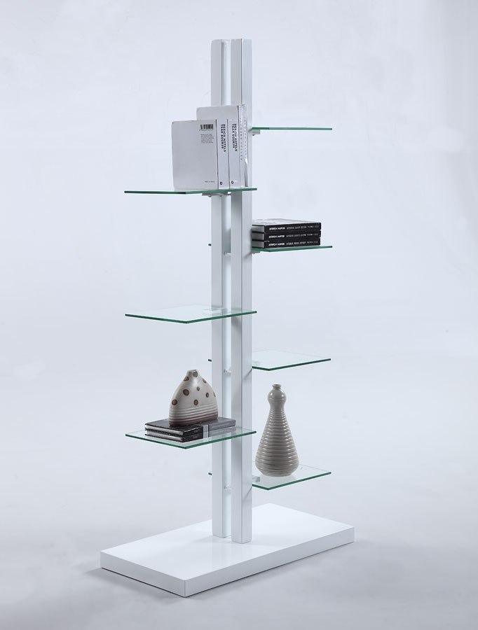 Gloss White Bookshelf W Clear Gl Shelves Chintaly Imports Furniture Cart