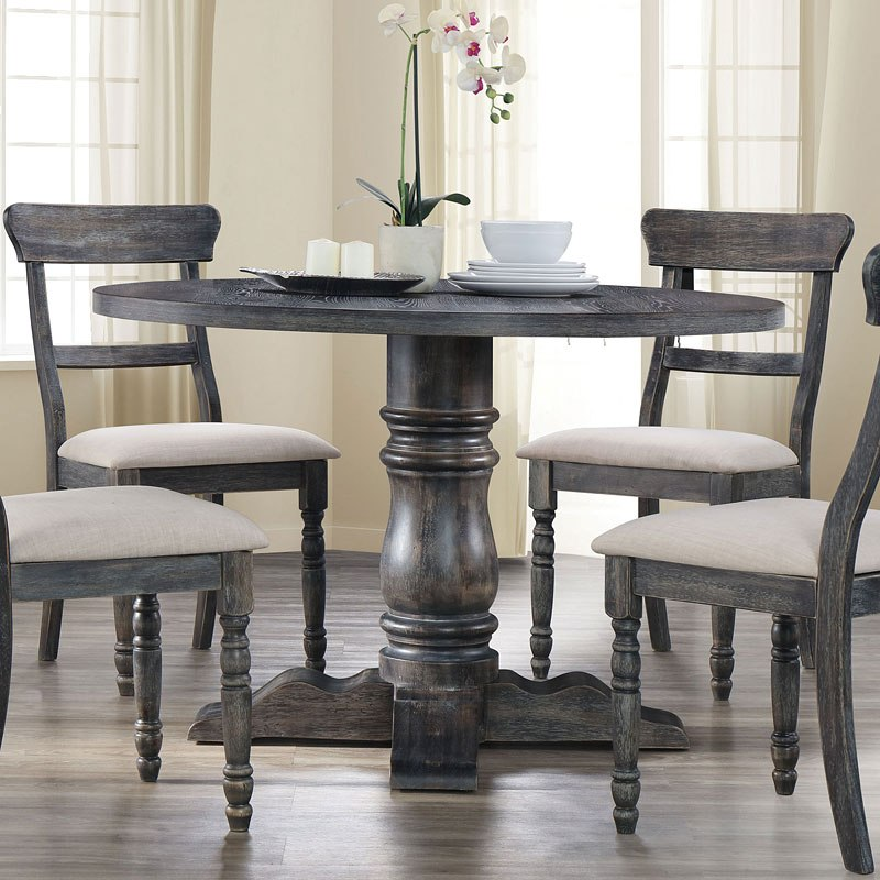 Tables N Chairs: Leventis Round Dining Table (Weathered Gray) Acme