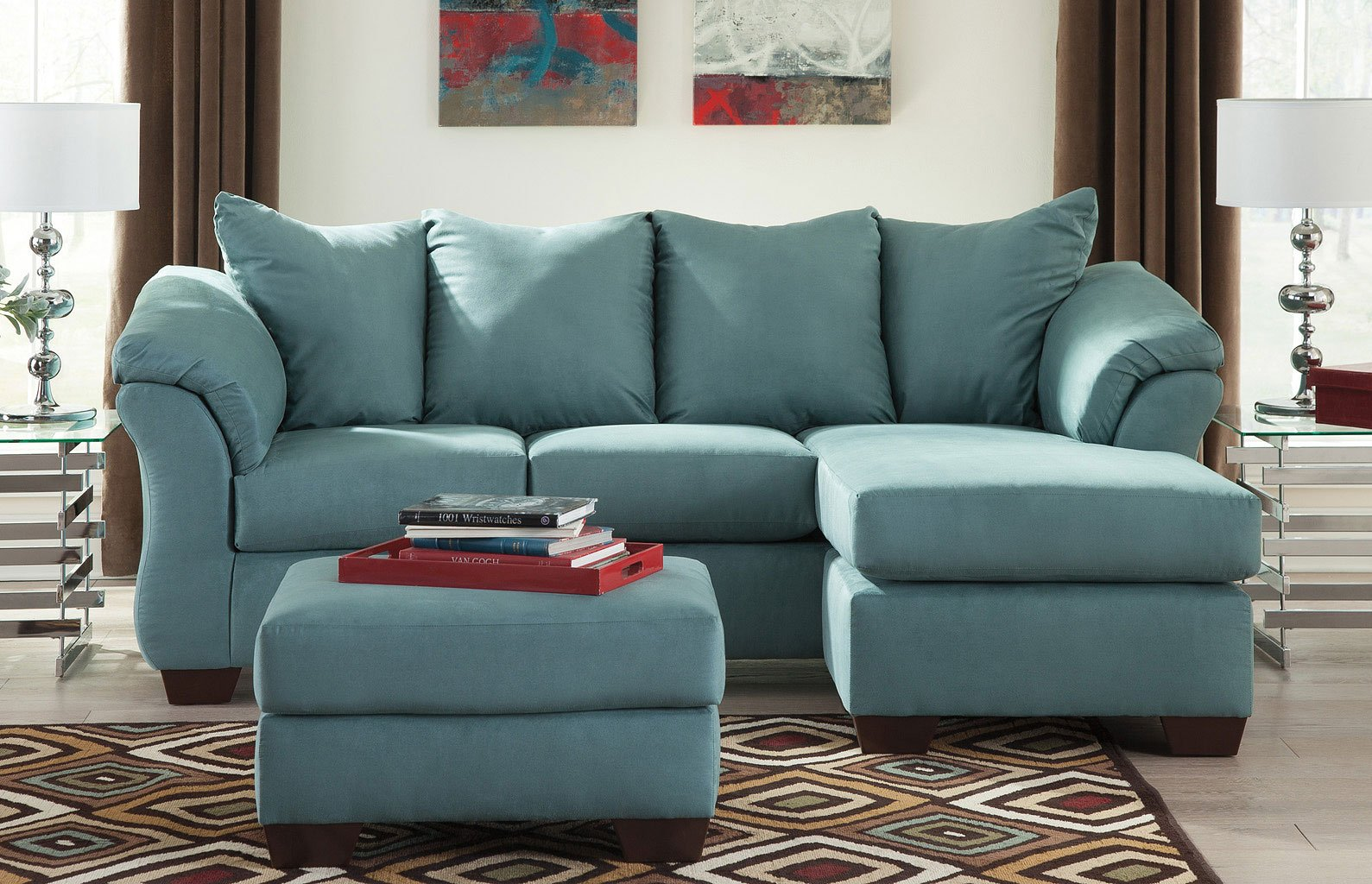 Darcy   Sky Sofa Chaise Living Room Set
