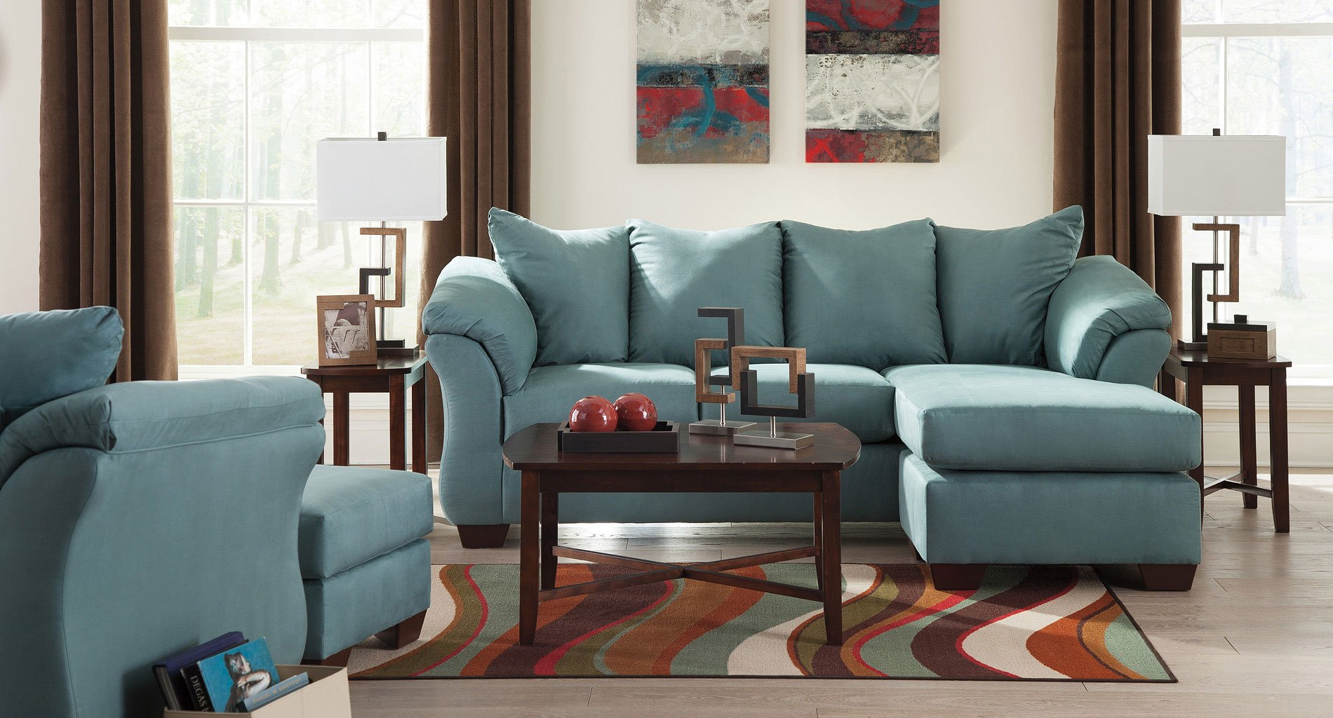 Darcy Sky Sofa Chaise Living Room Set Signature Design
