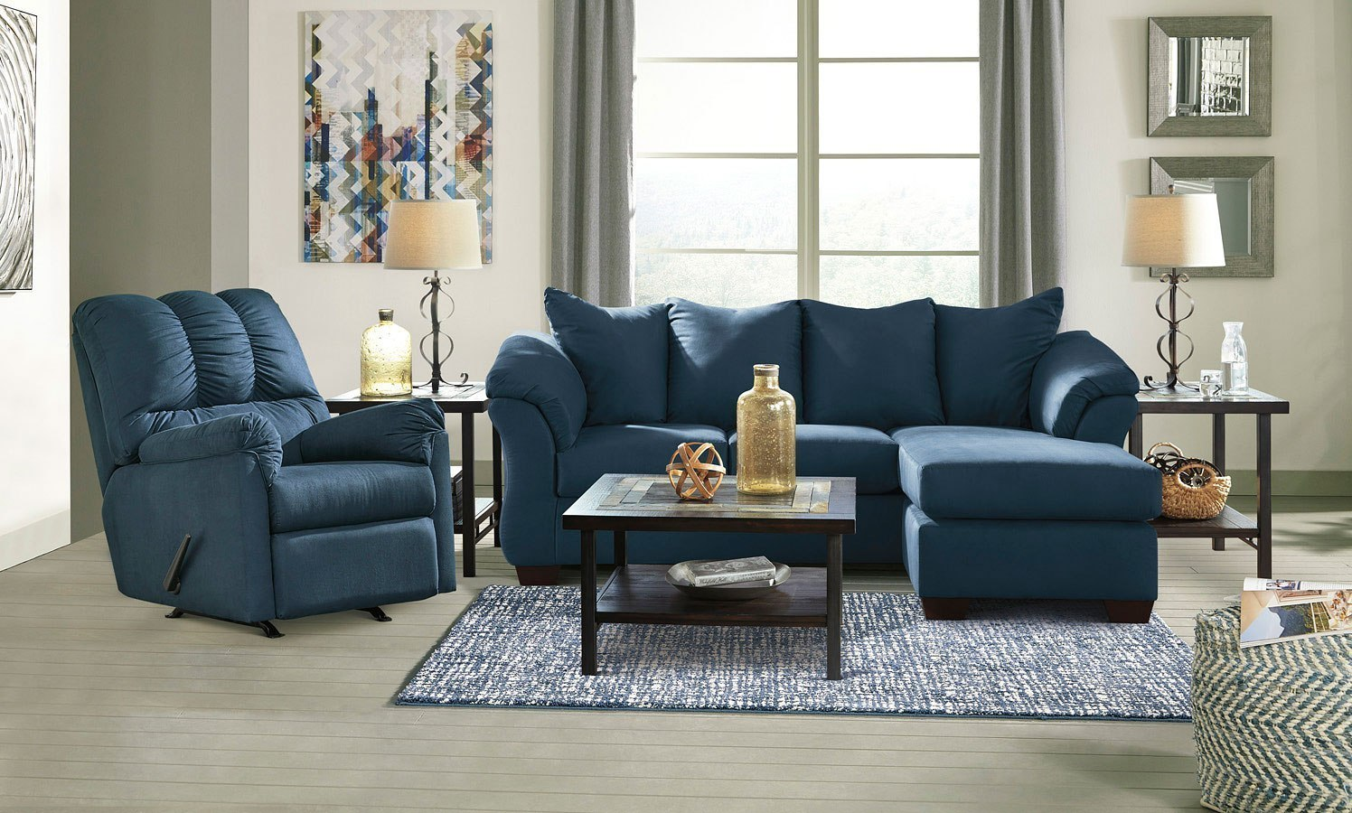 Darcy Blue Sofa Chaise Living Room Set Signature Design 1 Reviews Furniture Cart