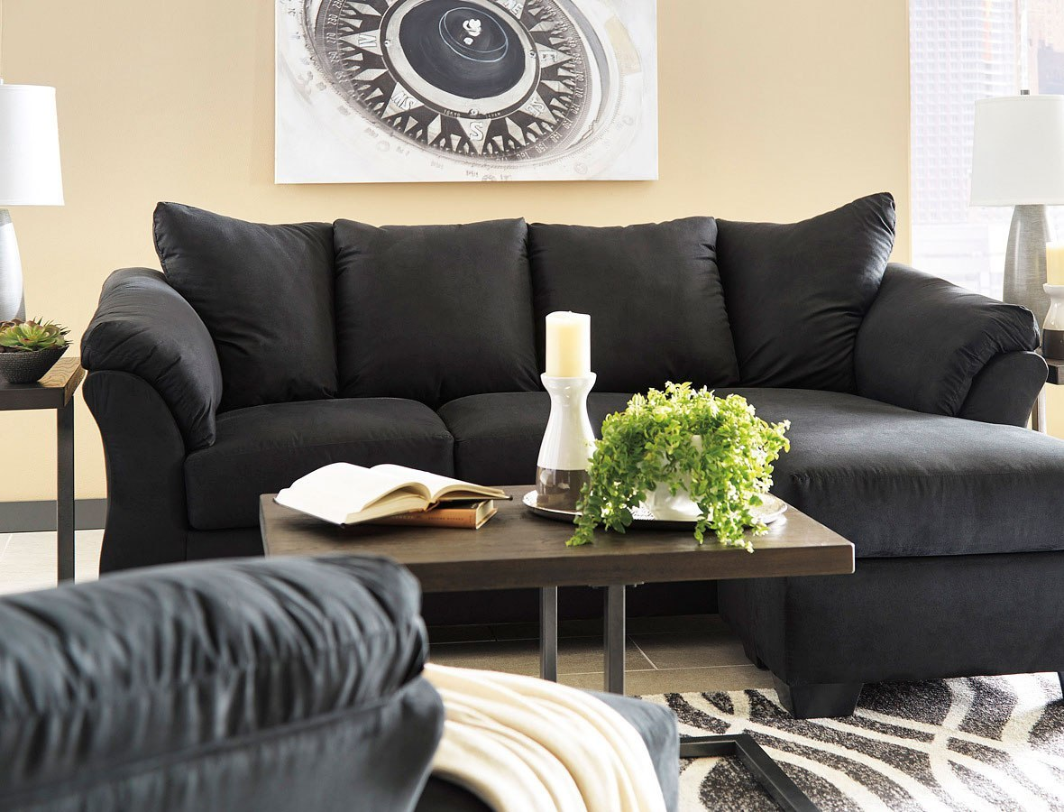 Darcy Black Sofa Chaise Living Room Set