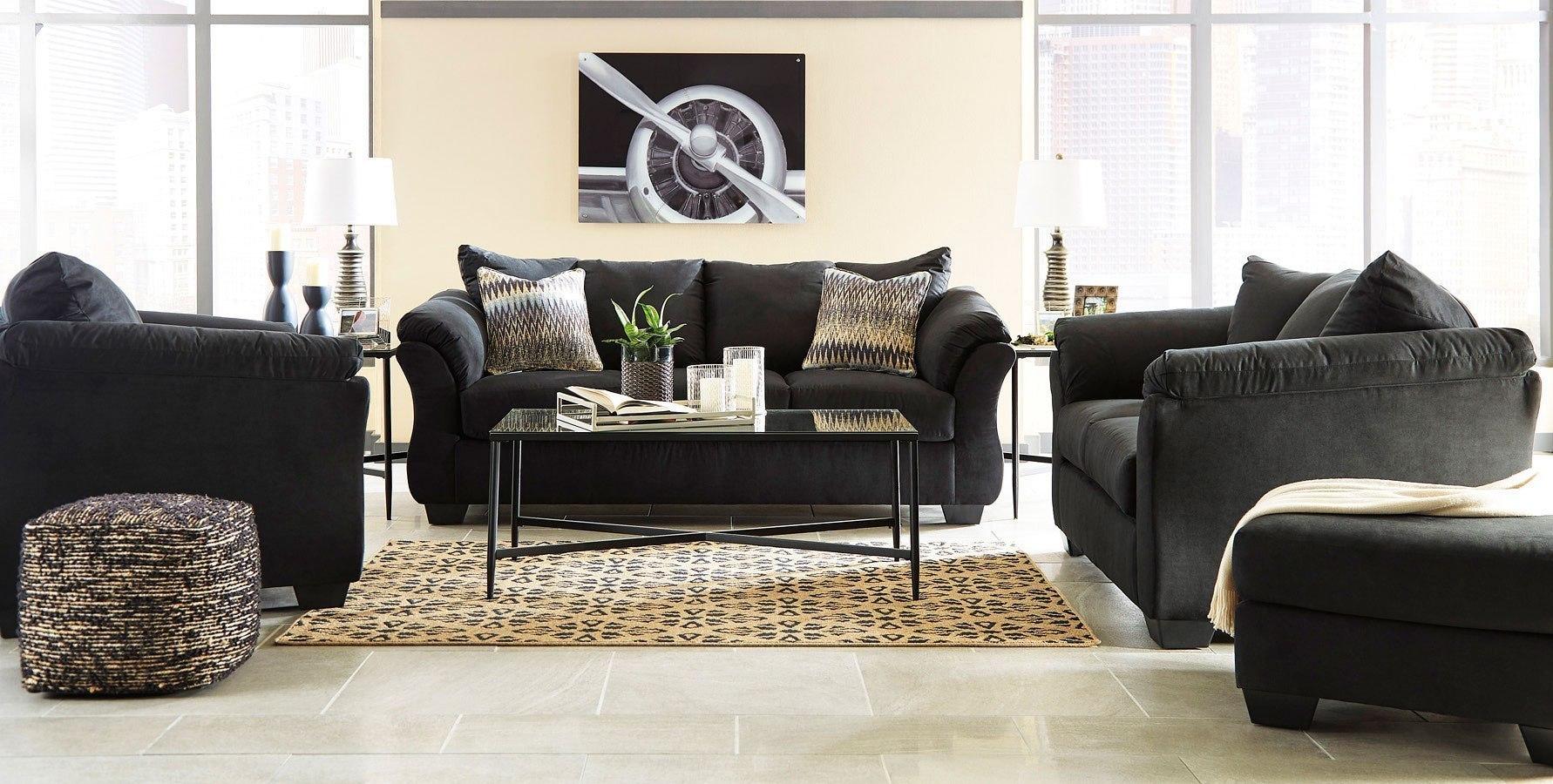 Darcy Black Living Room Set Signature Design | Furniture Cart