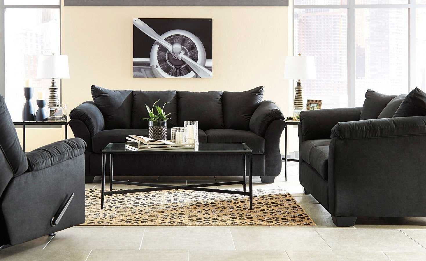 Darcy Black Living Room Set Signature Design Furniture Cart
