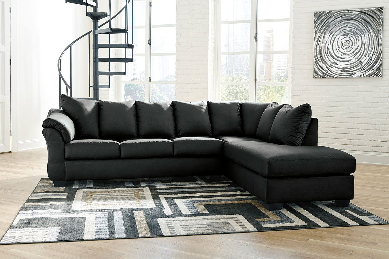 Darcy Black Right Chaise Sectional Signature Design