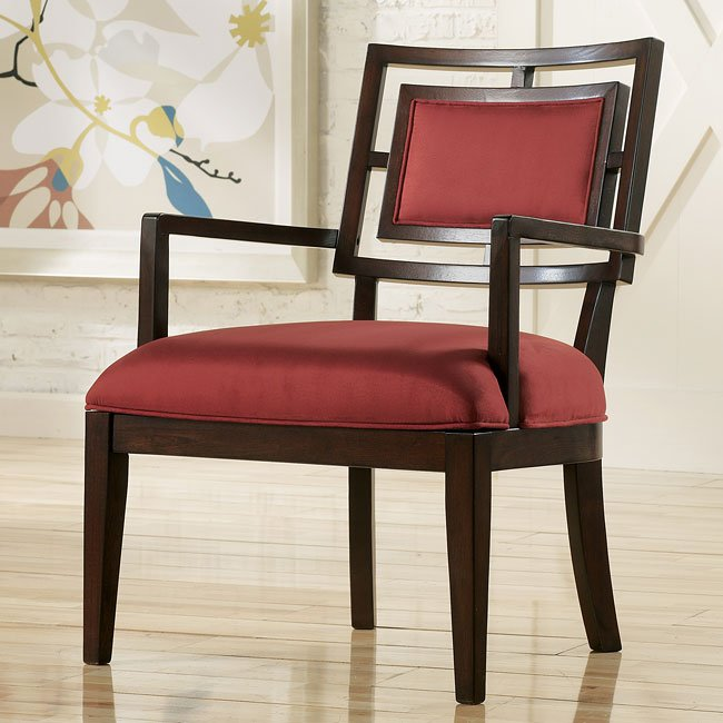 Aaron - Red Showood Accent Chair