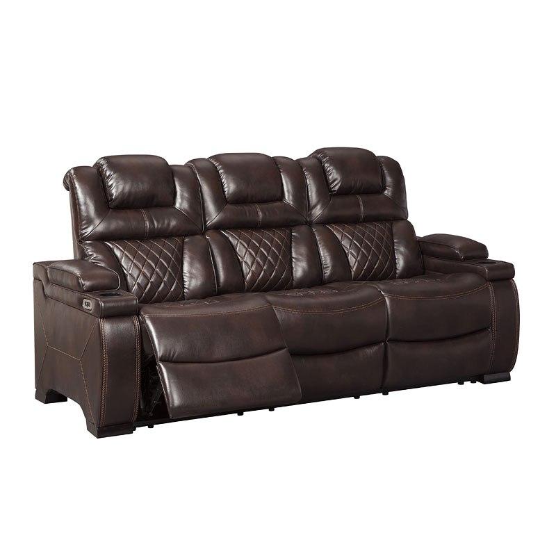 Warnerton Chocolate Power Reclining Sofa W/ Adjustable Headrest